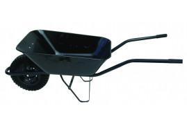 taczka budowlana 80 l, koło lite z pełnej gumy - misa tłoczona z blachy czarnej, nosność 100 kg