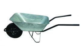 taczka budowlana 80 l, koło lite z pełnej gumy - misa tłoczona z blachy ocynkowanej, nosność 100 kg