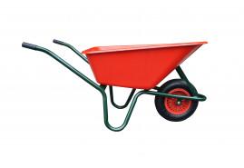 taczki LIVEX 100 l, koło pompowane, rozłożone - plast.   misa czerwona, nośność 100 kg