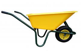 taczki LIVEX 100 l, koło pompowane, rozložené - plast.misa żółta, nośność 100 kg